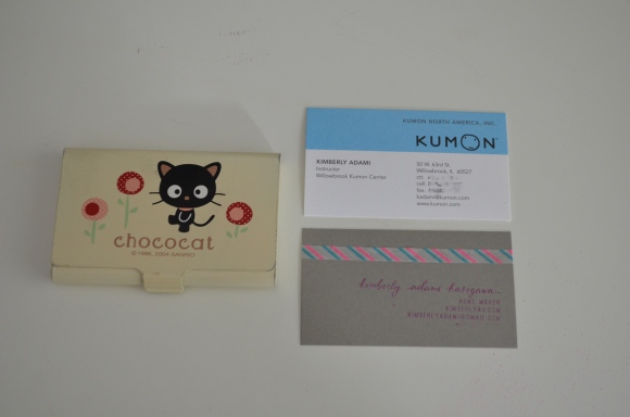 kimberlyah business card, chococat card holder