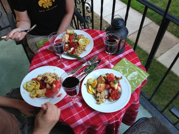 garden dinner on the balcony