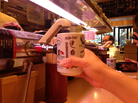 conveyor belt sushi hot water spigot