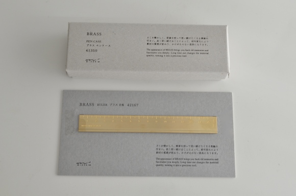 midori brass pencil case and ruler