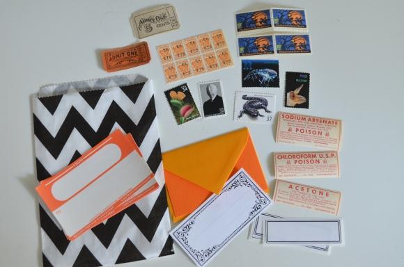 Halloween Mail Art vintage postage and ephemera