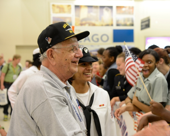 Chester at the Welcome Home Honor Flight Chicago