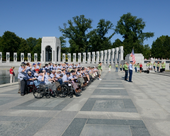 group picture prep, Honor Flight Chicago
