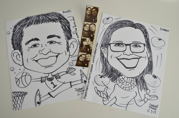 caricatures, kimberly and naoto