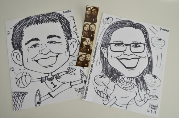 caricatures, kimberly and naoto