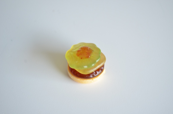 Japanese gummy hamburger with ketchup