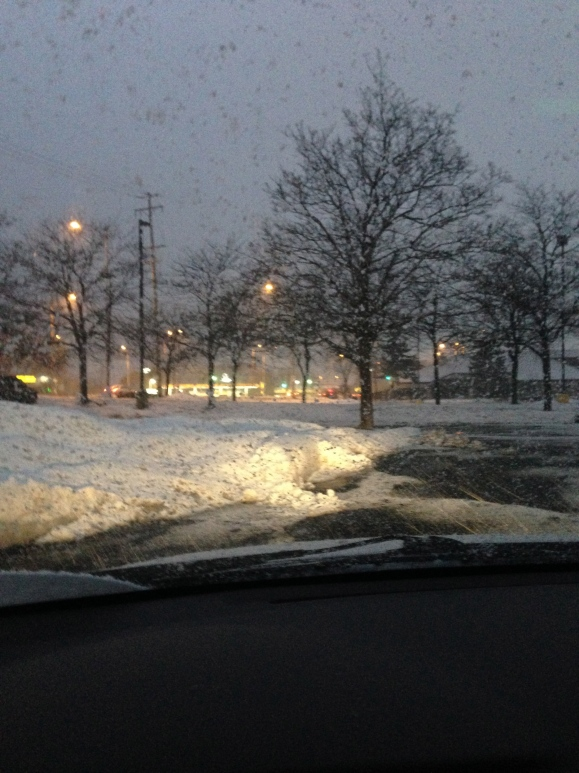 snow in the mitsuwa parking lot