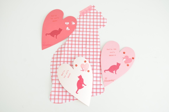 cat pun valentine with paper pastries cat note template