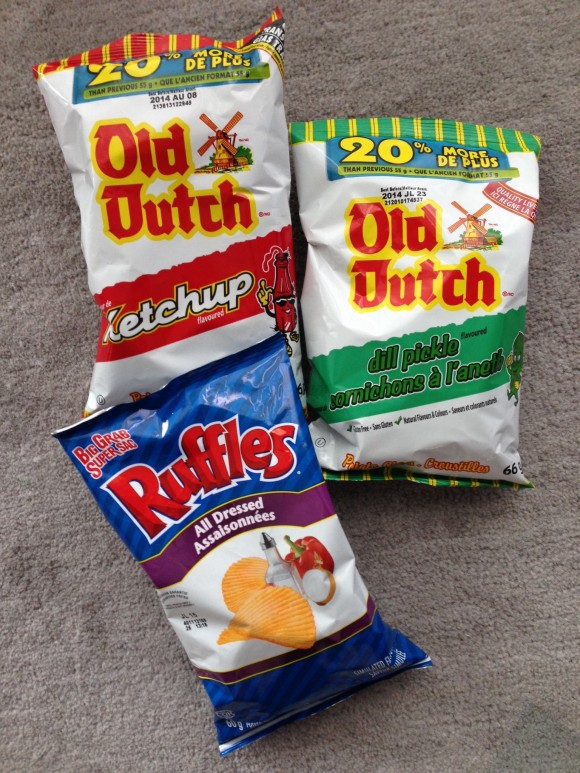 Ketchup potato chips, all dressed potato chips and dill pickle potato chips