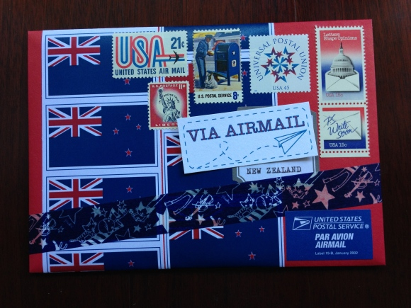 patriotic mail art, vintage stamps, USA, New Zealand
