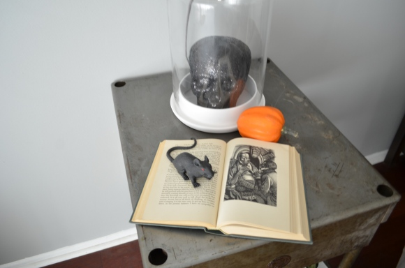 Edgar Allan Poe book with skull