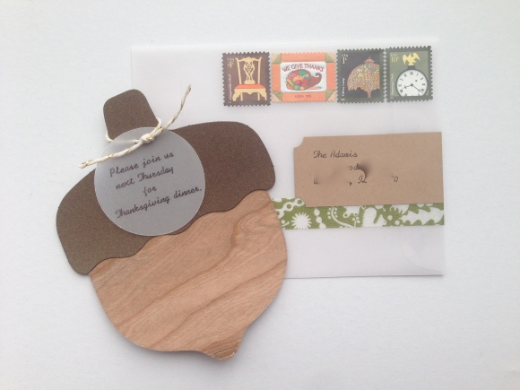thanksgiving invitation with Paper Source acorn kit and vellum envelope