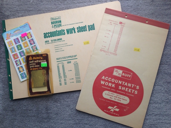 vintage accountant books, gold stars and stickers