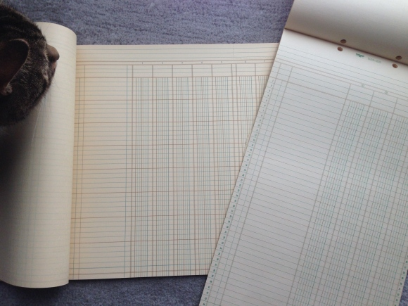vintage accountant work sheet pads and Presley