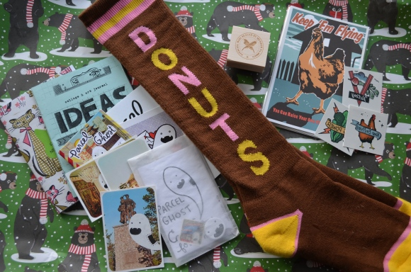 donut socks, zines, letter writers alliance stamp, postcards