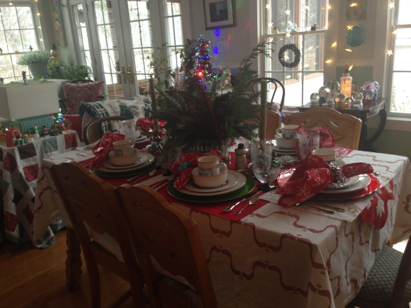 Bookclub holiday tea table settings 2014