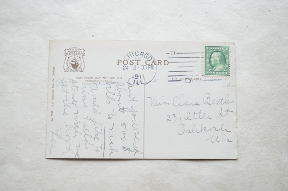 vintage postcard, 1 cent postage
