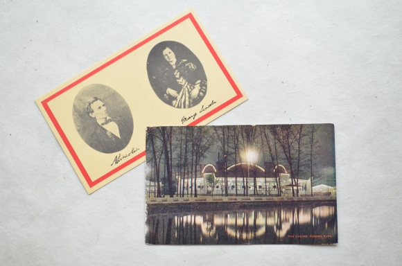 vintage postcards, The Casino Forest Park and Abe & Mary Lincoln