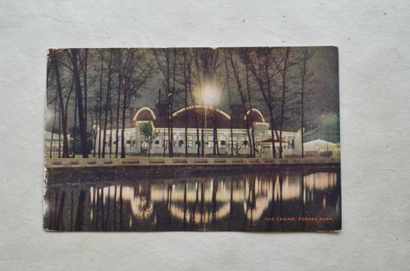 vintage postcard, The Casino Forest Park