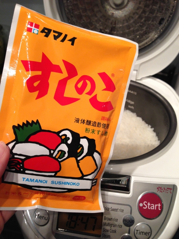 making sushi at home, seasoning rice
