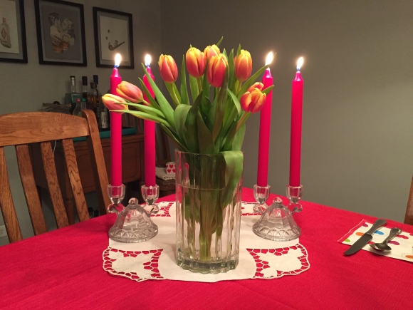 vintage candle holders, valentine tulips