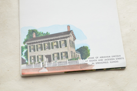 vintage souvenir stationery, Abraham Lincoln and Yellowstone