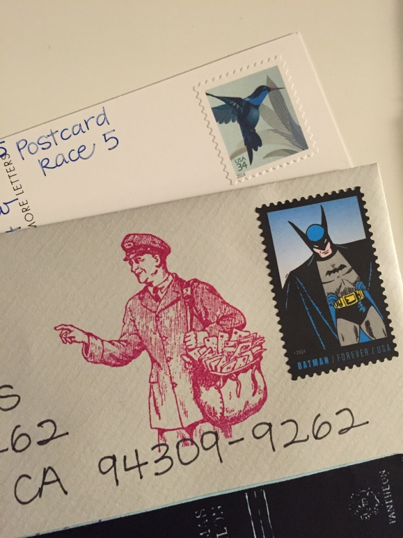 postcard race + mailman stamp