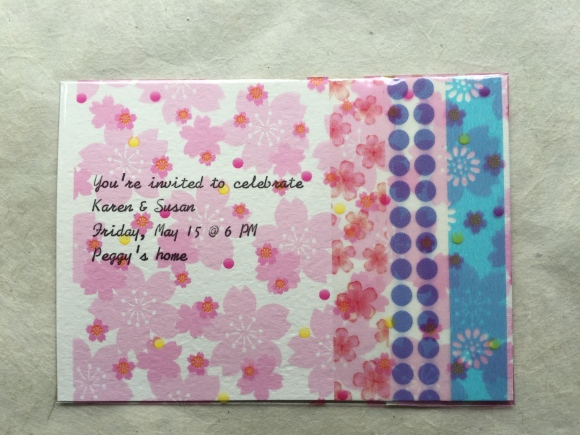 cherry blossom, spring birthday invites, washi tape, typewriter