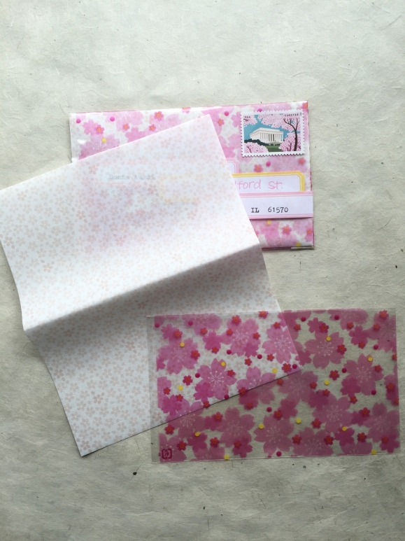 cherry blossom sweets papers, cherry blossom bags, spring mail