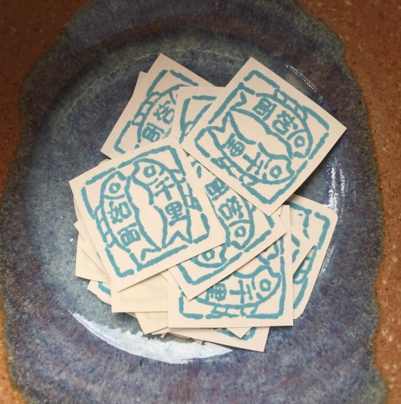 kanji fish stamp stickers