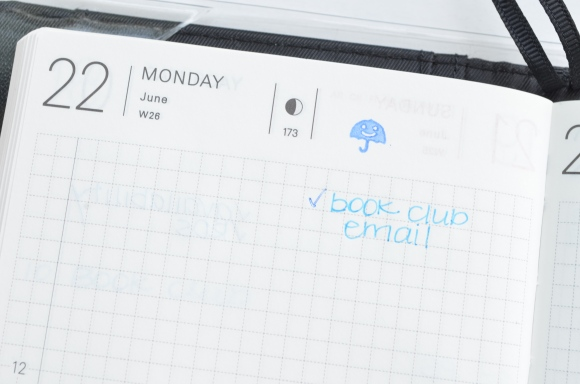 Hobonichi planner with pilot frixion stamps
