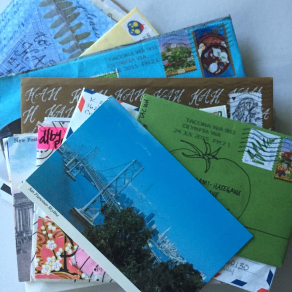 stack of mail art