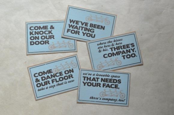 Zero bird Three's Company postcards, screen print