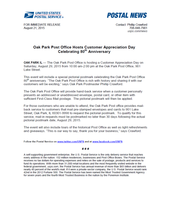 USPS Press Release Oak Park, IL post office 80th anniversary celebration