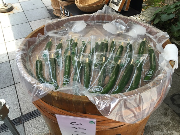 cucumbers on a stick, Kiyomizu Temple, Kyoto