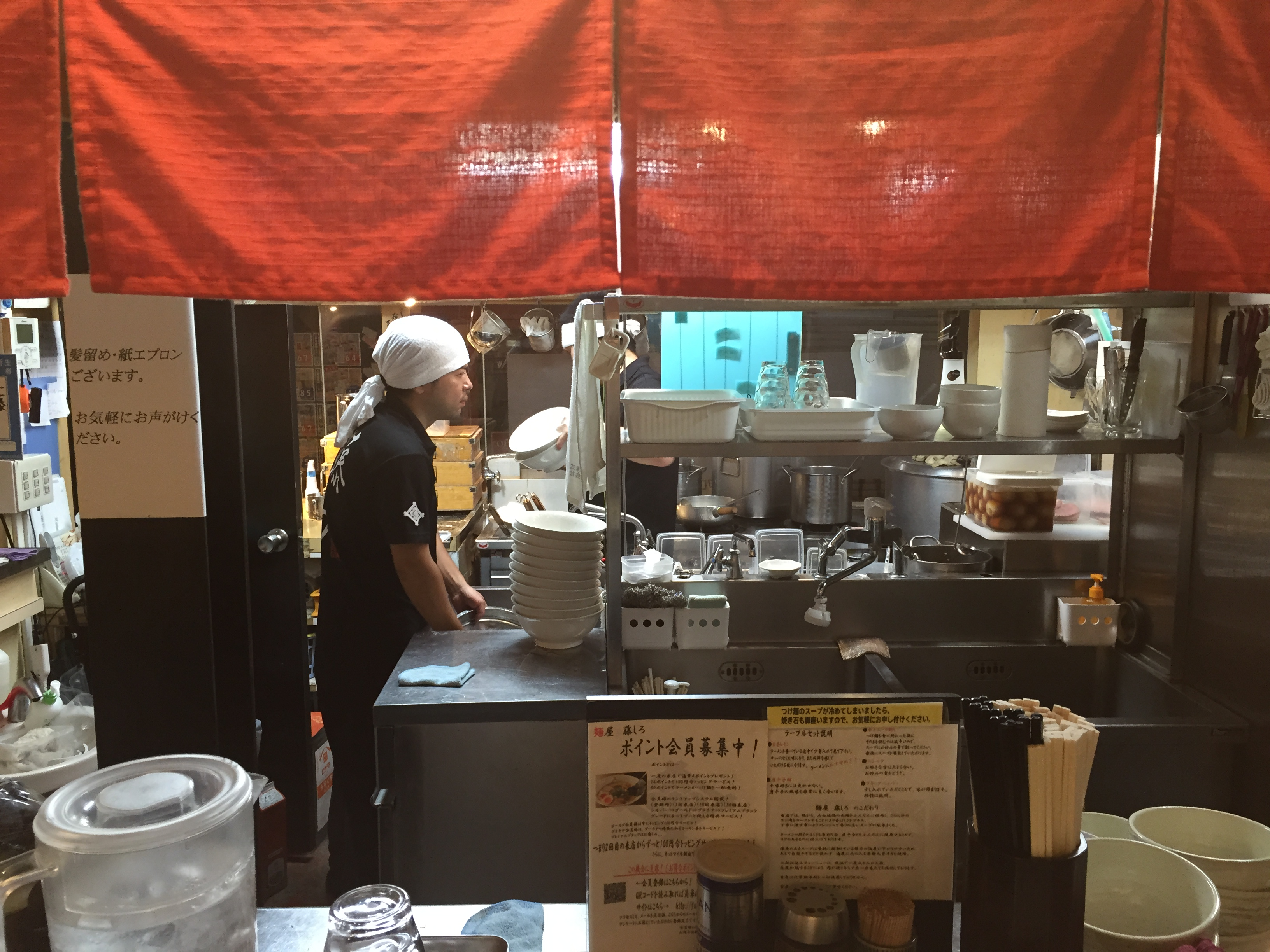Fujishiro in sangenjaya, place settings, Tokyo ramen shops