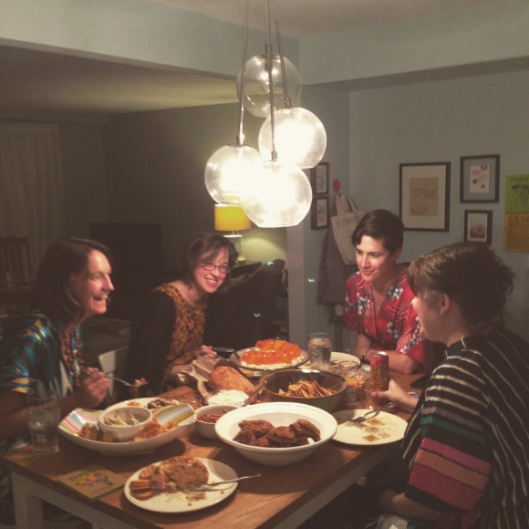 eating 1970s party food, Mrs. Roper Party, kaftans in the kitchen