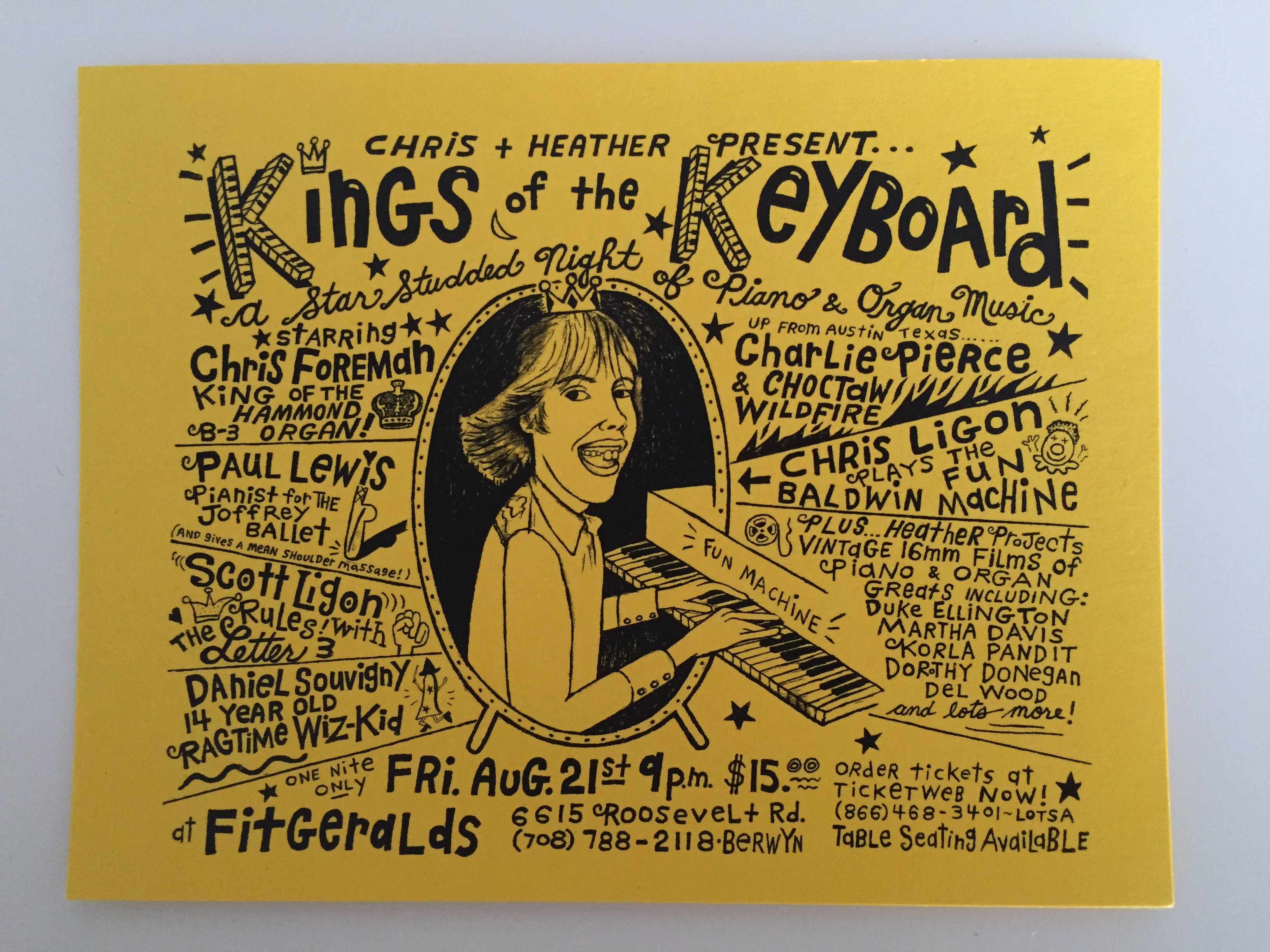 Kings of the Keyboard, FitzGeralds night club, Heather McAdams artwork