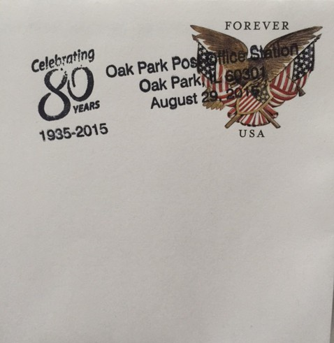 Oak Park, IL Post Office 80th anniversary postmark