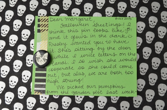 Halloween mail, La Familia Green glow in the dark button, mail art 2