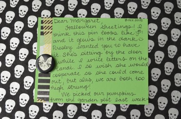 Halloween mail, La Familia Green glow in the dark button, mail art 2