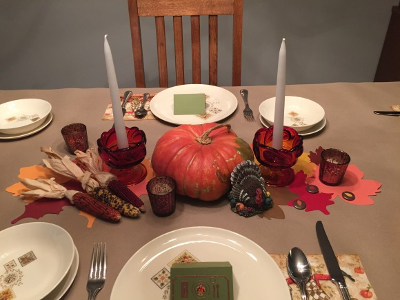 Thanksgiving Table 2015, vintage dishes, Taylor, Smith & Taylor