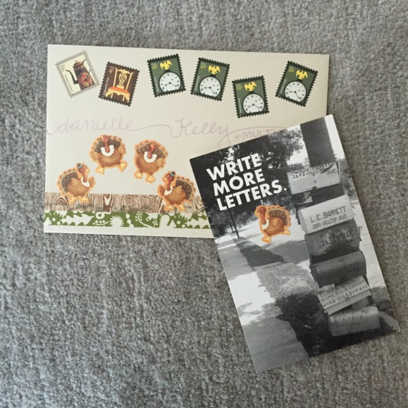 Thanksgiving mail, vintage book pages, mail art