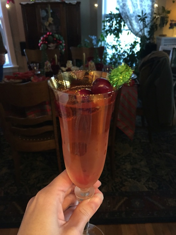 Book Club Christmas Tea 2015 4, cranberry pepper shrub with prosecco