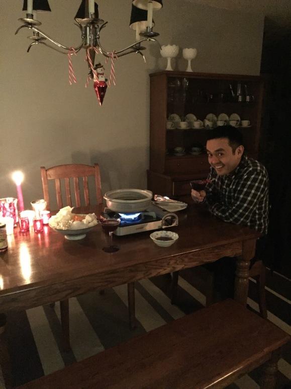 Naoto cooking Shabu Shabu, donabe