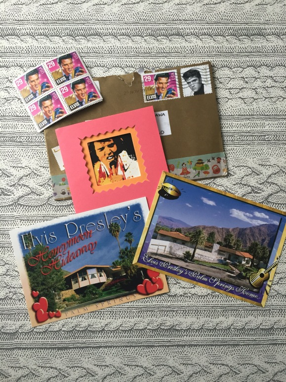 Elvis mail from Nic, Elvis postage stamp, Elvis postcards