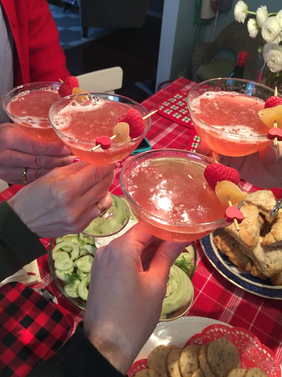 Jackie's Scottish Lighthouse Tea, the toast, sparkling rosé ginger raspberry cocktail