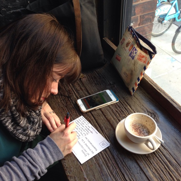 KimberlyAH at Sawada Coffee, Chicago, postcards