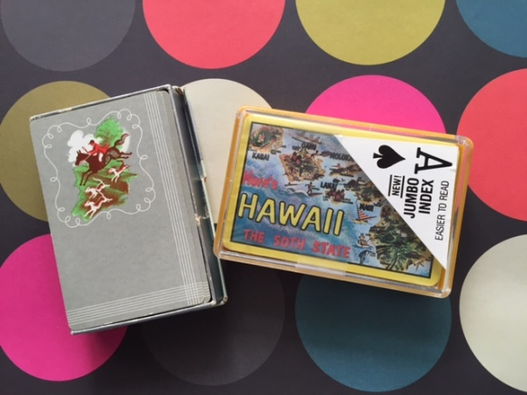 vintage playing cards, horses and hawaii