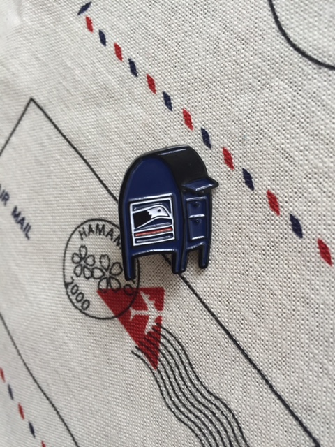 Mailbox pin, drawn by Marissa Falco, Thimblewinder on Etsy